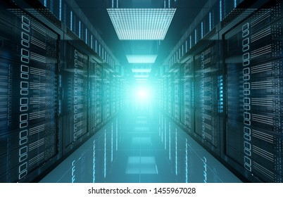 Dark servers data center room with bright halo light going through the corridor 3D rendering