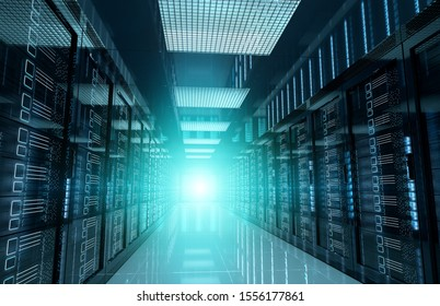 Dark servers data center room with bright halo light going through the corridor 3D rendering