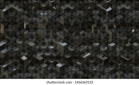 dark shiny 3d blocks texture