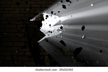 A dark side of a wall being broken and shattered with light emanating through