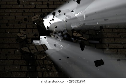 A dark side of a wall being broken and shattered by a wrecking ball with light emanating through