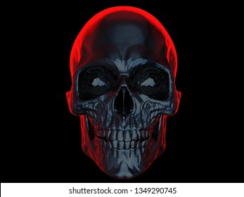 Dark skull with bright red glowing outline - 3D Illustration