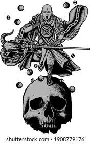 dark skull monk high quality white, black and gray