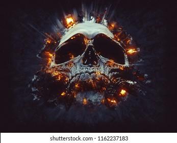 Dark skull - small explosions - 3D Illustration