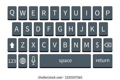 Dark smartphone keyboard on white. Mobile phone keypad mockup