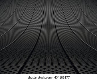 Dark smooth curve metallic grid or net background. 3D render.