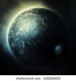 dark space background with planet, moon and stars