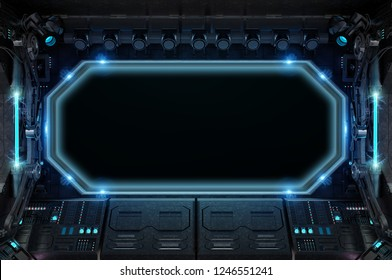 Dark spaceship interior with large window view on space 3D rendering