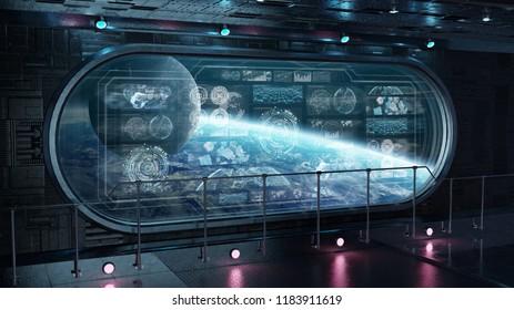 Dark spaceship interior in space with control panel digital screens 3D rendering