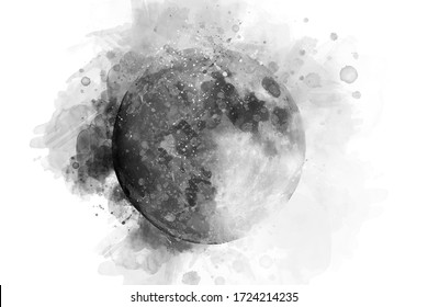 Dark splash moon in watercolor
