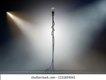A dark stage with a single microphone on a stand dramatically lit by two spotlights - 3D render