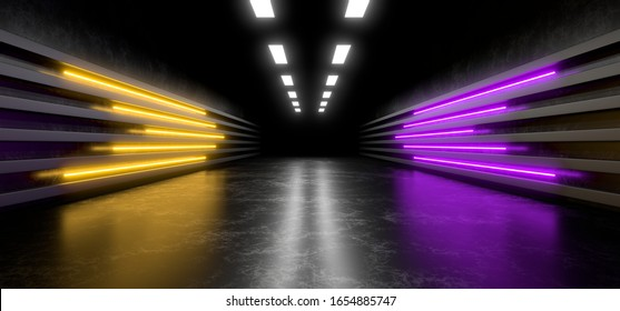 Dark studio with bright colored neon lights. Empty black space for text. Blurry reflections on the floor. Abstract black background. 3D rendering image.