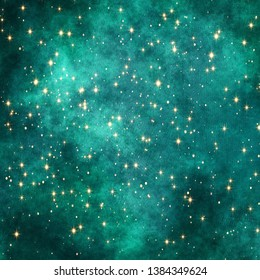 Dark teal green background with glitter stars