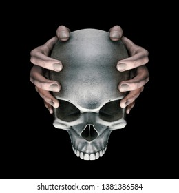 Dark thoughts horror skull / 3D illustration of hands holding scary evil dark grungy human skull on black background