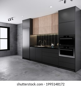 Dark tone loft style kitchen room interior design and decoration with built in black counter and cabinets, microwave, oven, stove and sink. 3d rendering modern loft kitchen room.