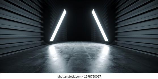 Dark Triangle Lights Futuristic Modern Garage Showroom Tunnel Corridor Concrete Metal Grunge Reflective Glossy Empty Space White Glow Showcase Stage Underground Hallway Entrance 3D Rendering