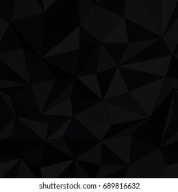 Dark triangle surface, seamless pattern. Simple black triangles texture. Black Low Poly Pattern Background