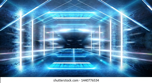 Dark tunnel, corridor. Neon light, reflection of light, lamps on the walls of brick, the old room, illuminated by floodlights. Abstraction with neon. Blue background with m lines and rays.