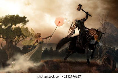 A dark undead knight on a spectral mount faces off against a bright fairy queen. The deathknight his hammer to strike, but the faerie Queen counters with a fiery burst of magic. 3D Rendering