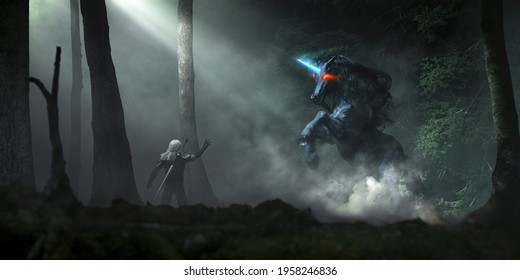 Dark unicorn in a night black forest with mist and fog illuminated by god ray and an obscure elf taming it - concept art - 3D rendering