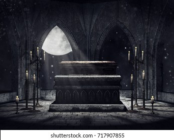 Dark vampire crypt with candles and moonlight. 3D illustration.