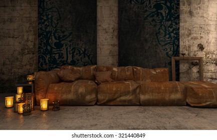 Dark vintage living room interior with comfortable aged furniture and couches lit by romantic candlelight from burning candles on the floor. 3d Rendering.