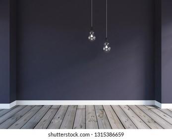 dark violet empty interior. 3d illustration