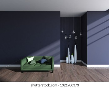dark violet empty interior with a green sofa and vases. 3d illustration