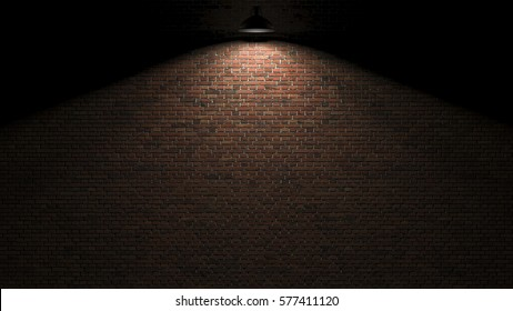 Dark wall with lamp above 3d rendering
