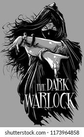 The Dark Warlock woman black and white with The Dark Warlock title