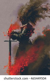 dark warrior in the armor with the sword,illustration,digital painting