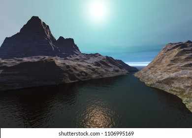 Dark waters, 3d rendering, a rocky landscape, beautiful mountains and a wonderful sun in the sky.