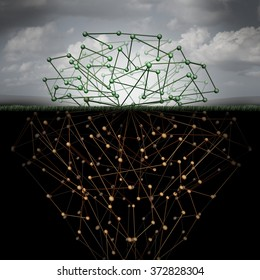 Dark web and hidden internet technology as a hidden website in cyberspace underground search engines as a buried data symbol for the deepnet as a network group of connected geometry as roots.