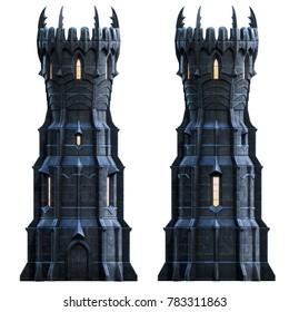 Dark wizard tower at night. 3d-render illustration