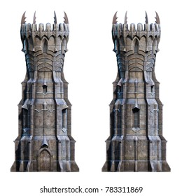 Dark wizard tower on white. 3d-render illustration