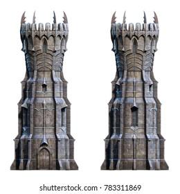 Dark wizard tower on white. 3d-render illustration