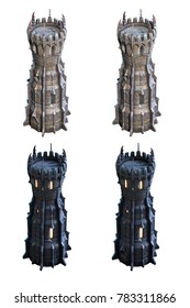 Dark wizard tower set. 3d-render illustration
