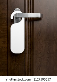 dark wood hotel door with paper label, 3d rendering image