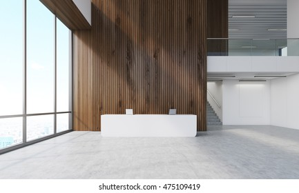 Dark wood wall in office with reception counter and stairs. Concept of business company building. 3d rendering. Mock up