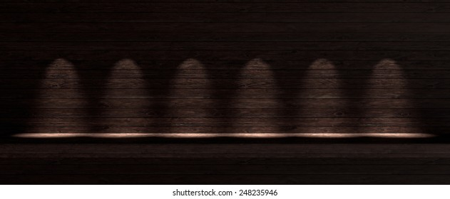 Dark wooden background with six spotlight lamps