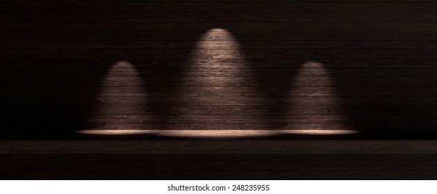 Dark wooden background with three spotlight lamps