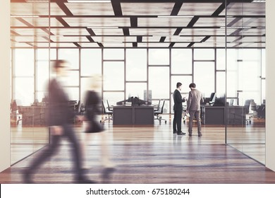 Dark wooden floor open space office interior with panoramic windows and a rectangular ceiling pattern. People 3d rendering mock up toned image