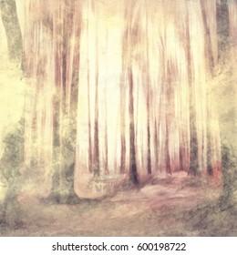 dunkle Wälder, abstrakte Aquarellfarbe, bunter Wald, grunge Vintage-Hintergrund