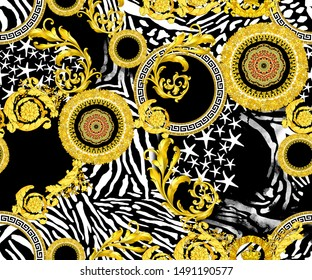 dark yellow background, and endless baroque shapes, star white line print pattern