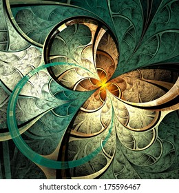 Dark yellow fractal flower, digital artwork graphic