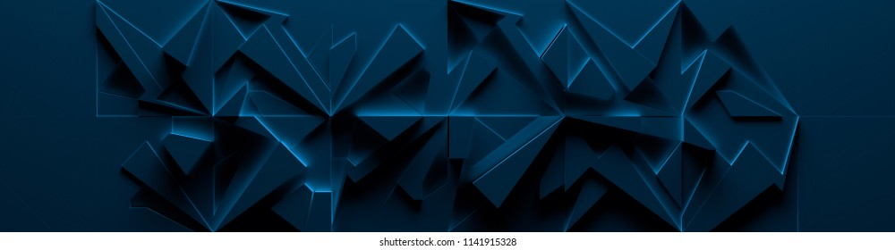 Dark-Blue Wide Abstract Site Head (3d Illustration)
