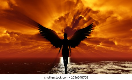 Dark-haired girl with angel wings. Goes in the sun. Against the red sky sunset.Contrasting view, against the counter to the sun. 3d rendering. The rays sometimes shine through the camera.