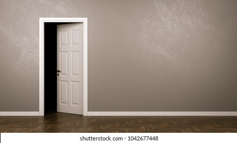Darkness Behind the Half-Closed Door in the Room with Copyspace 3D Illustration