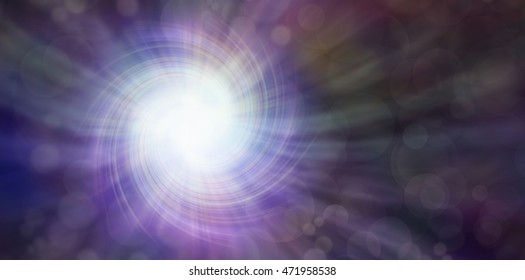 Darkness and Light - subtle dark muted multicolored bokeh effect background with a spiraling white vortex light burst radiating outwards