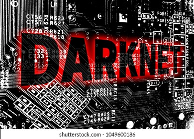 Darknet with circuit board concept background.